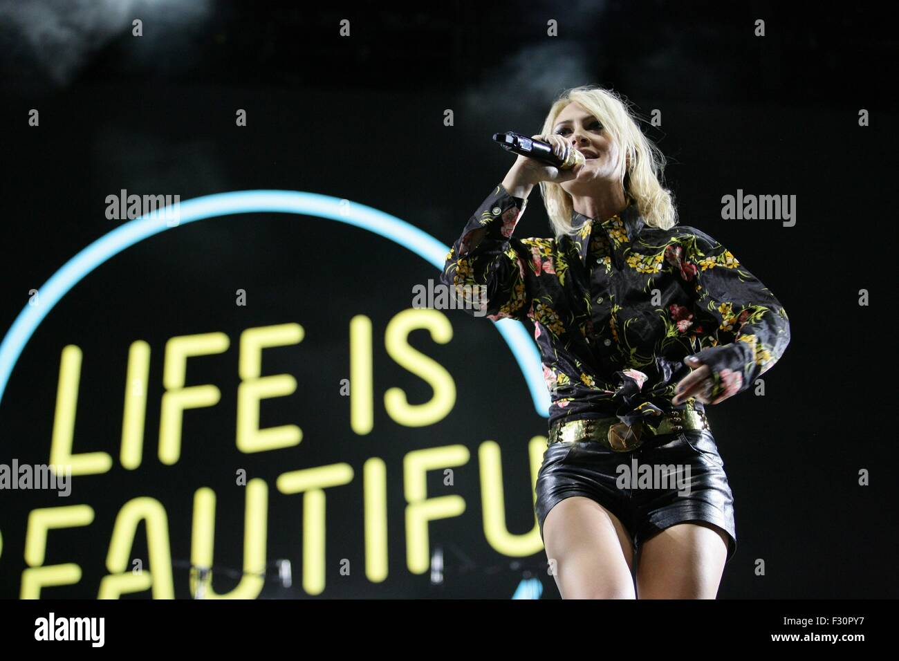 Las Vegas, NV, USA. 26th Sep, 2015. Emily Haines of Metric in attendance for 2015 Life Is Beautiful Festival - SAT, - Stock Image