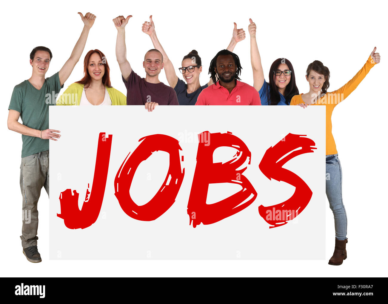Jobs sign group of happy young multi ethnic people holding banner - Stock Image