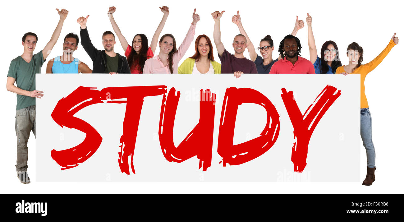 Study sign group of young students multi ethnic people holding banner isolated - Stock Image