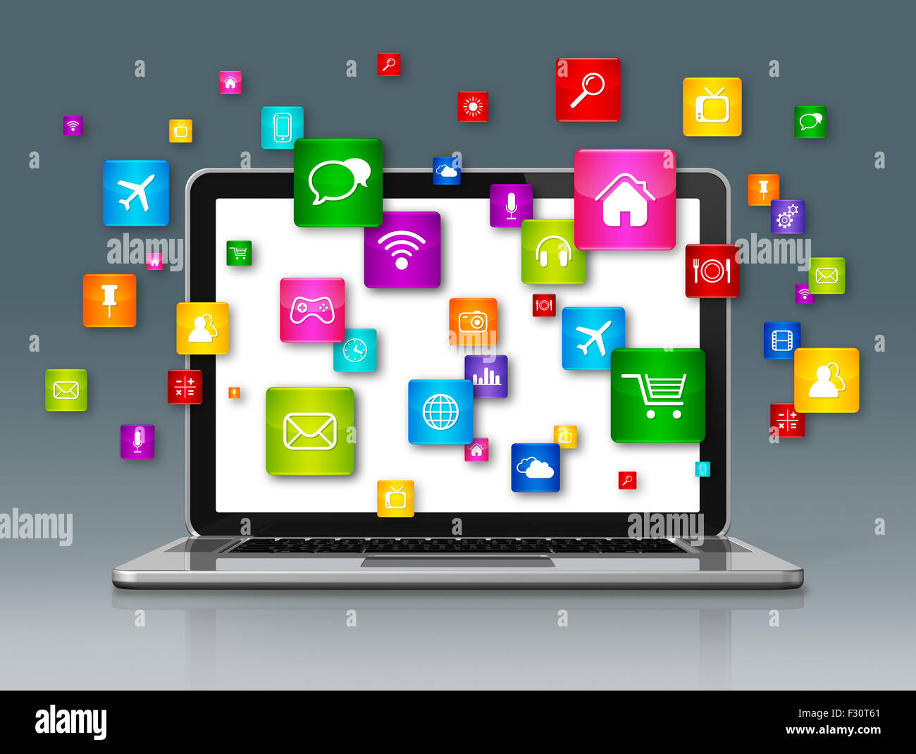 3d laptop computer and flying apps icons isolated on grey stock