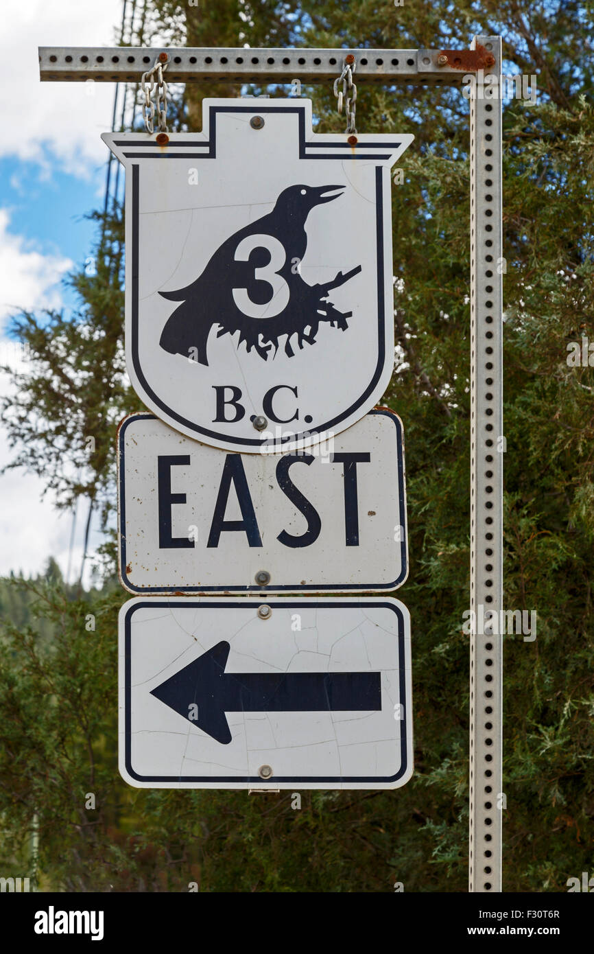 Highway 3 or Crowsnest Highway, also known as the Interprovincial or, the Southern Trans-Provincial in British Columbia, Stock Photo