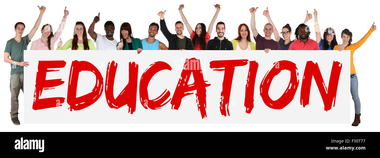 Education concept group of young multi ethnic people holding banner isolated - Stock Image