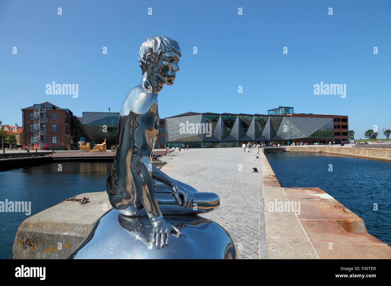 He or Han, a 2m tall sculpture in the harbour  of Elsinore in front of the Culture Yard, a male equivalent to the Stock Photo