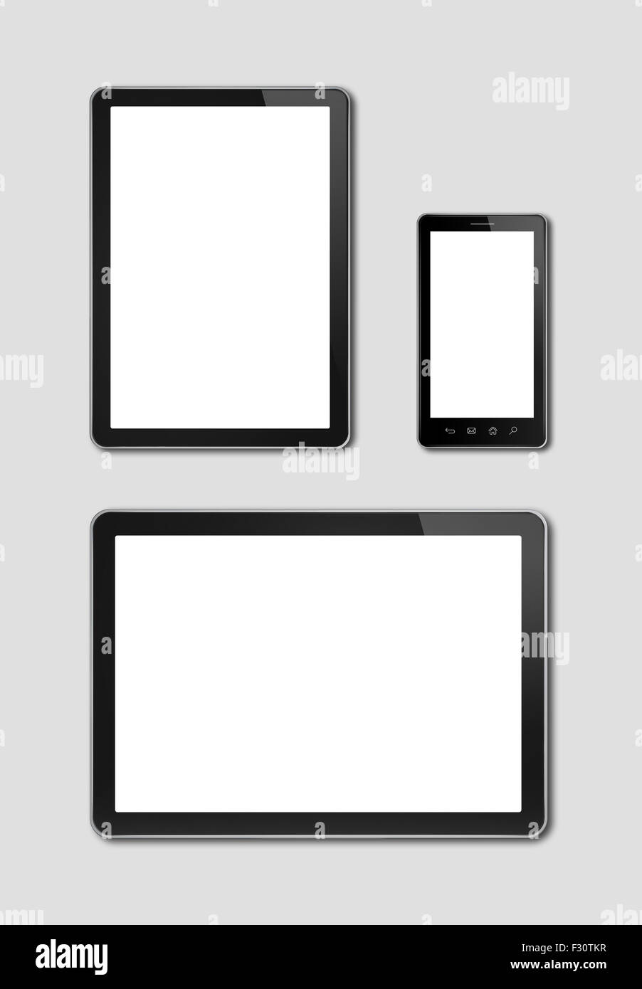 smartphone and digital tablet pc mockup template grey background