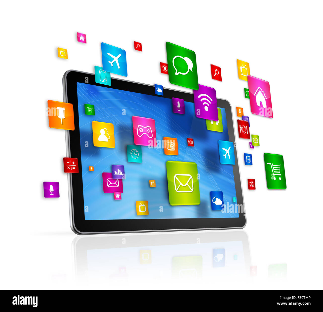 3d tablet pc with flying apps icons - isolated on white stock photo
