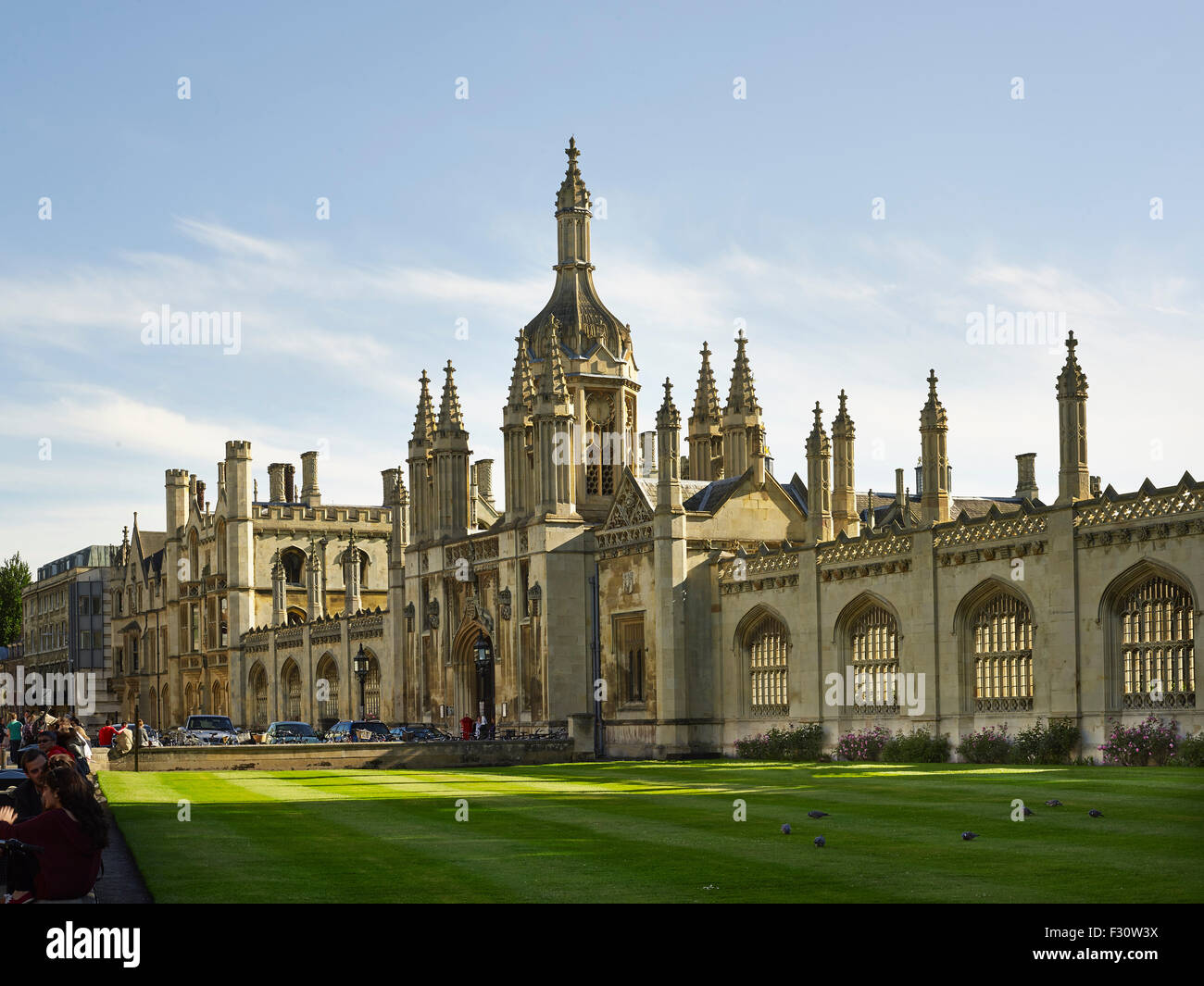Cambridge, King's College, Great Court, screen and central gatehouse - Stock Image