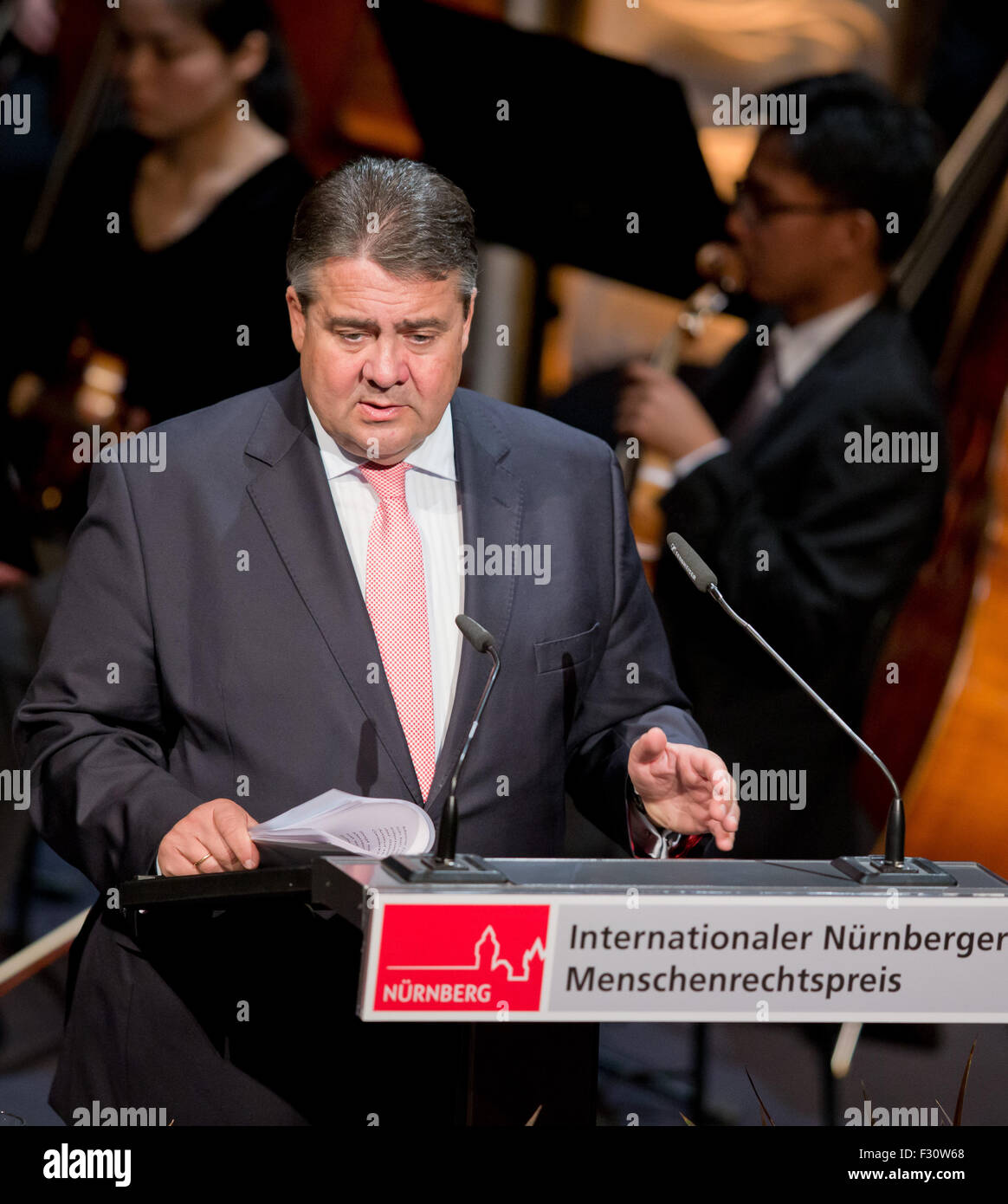German Vice Chancellor and Minister of Economy  Sigmar Gabriel (SPD) speaks  during the International Nuremberg - Stock Image