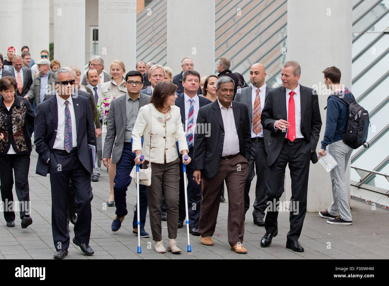 The president of the textile worker's union in Bangladesh, Amirul Haque Amin, (4th R), Nuremberg's mayor - Stock Image