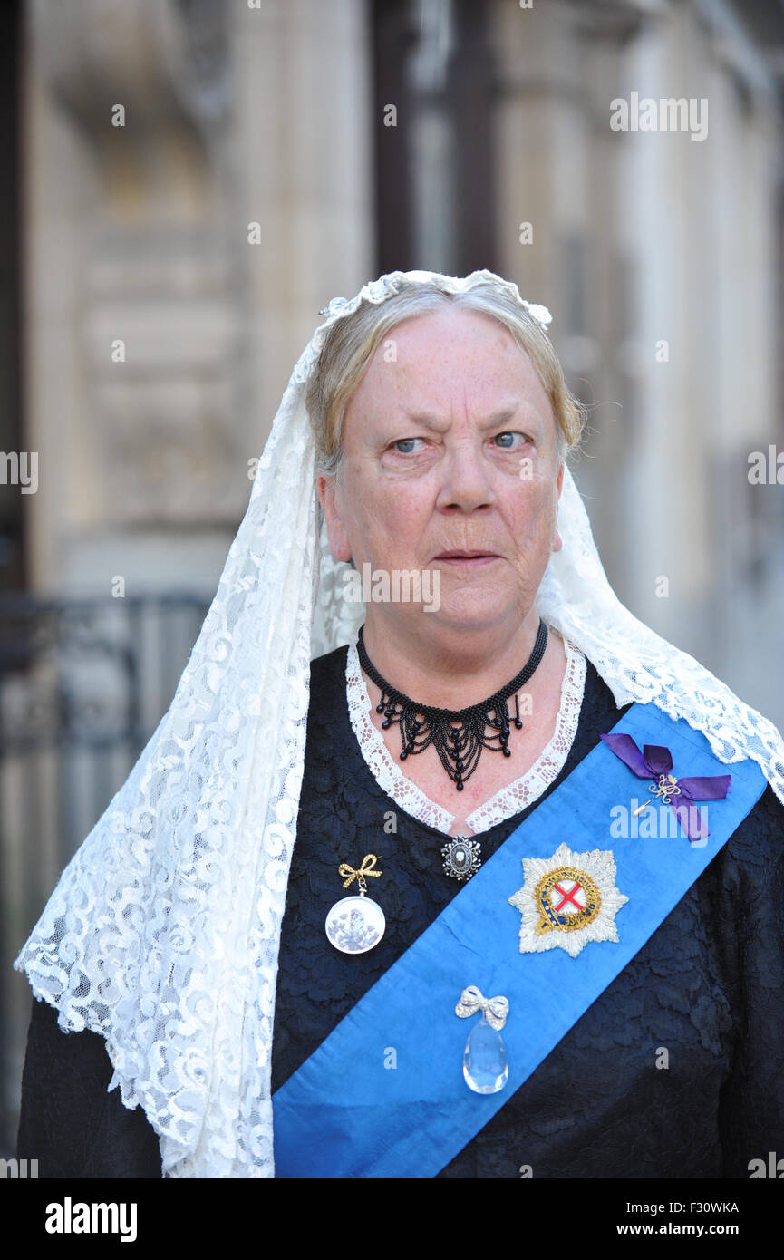Pearly Kings and Queens Harvest Festival 2015 held at Guildhall Yard. - Stock Image