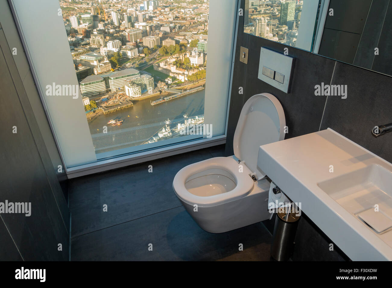 The Shard Toilet at the Top of The Shard  Loo with a View over London - Stock Image