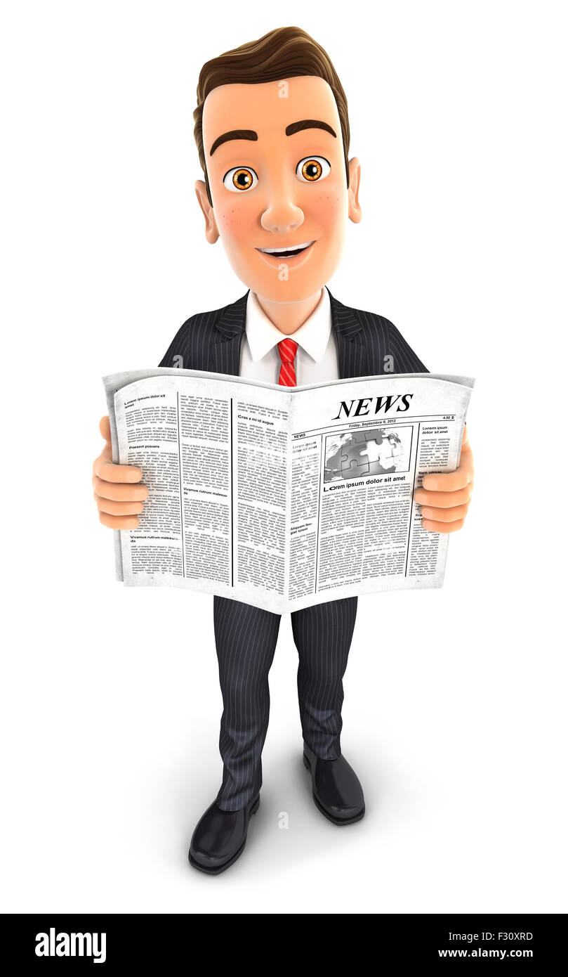 3d businessman with a newspaper, isolated white background Stock Photo