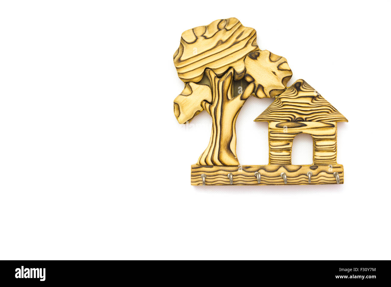 Wooden Wall Hanging Key Holder Home Shaped Stock Photo: 87917192 - Alamy