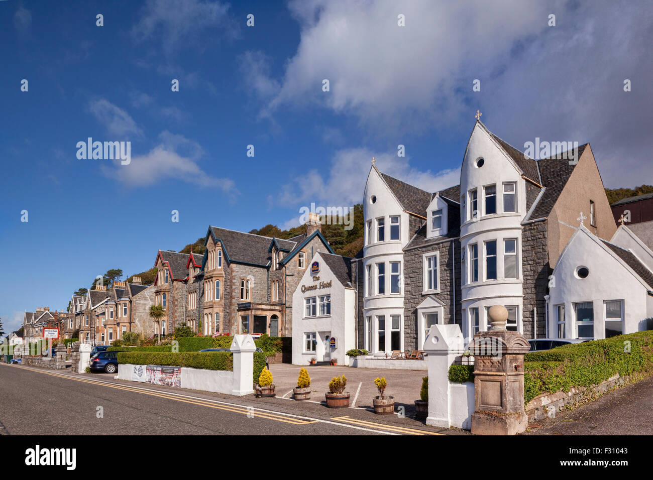 Hotels and guest houses, on the promenade at Oban, Argyll and Bute, Scotland, UK, - Stock Image