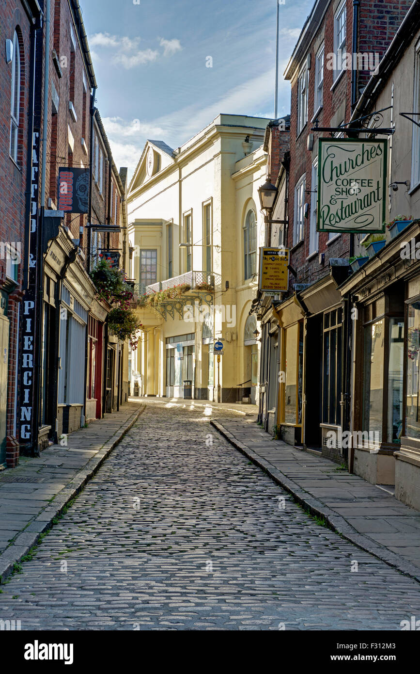 Cobbled street in Boston, Lincolnshire, England UK - Stock Image