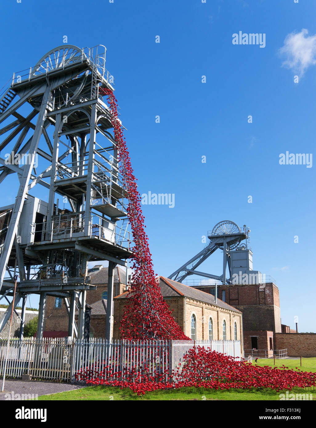 Weeping Window using ceramic poppies by Paul Cummins and Tom Piper,  Woodhorn Colliery, Ashington, Northumberland, - Stock Image