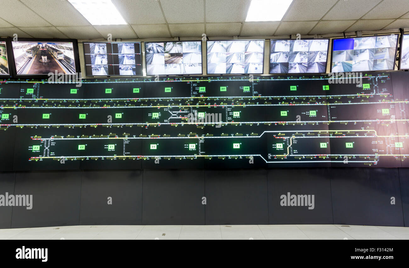 Control room for the subways of Sofia, Bulgaria. Traffic maps and video monitoring surveillance system. - Stock Image