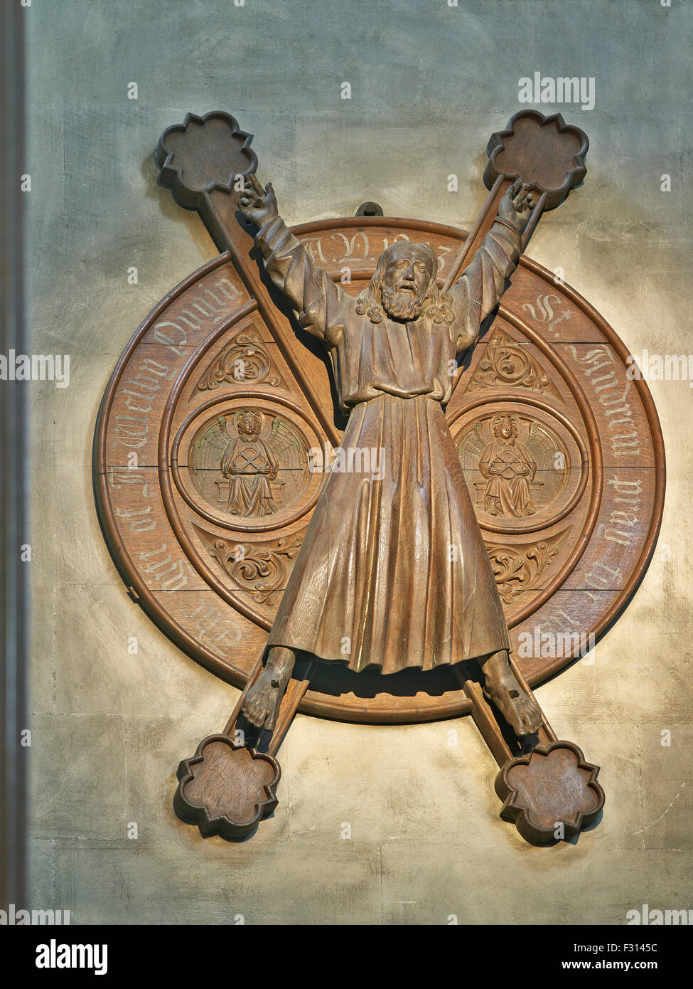 Wooden panel with Crucifixion of St Andrew, Cambridge - Stock Image