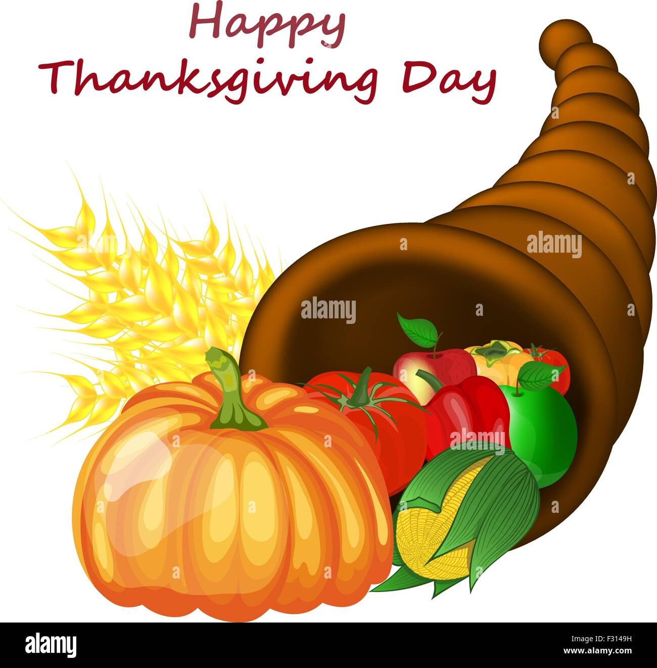 thanksgiving day greeting card design consist from cornucopia stock