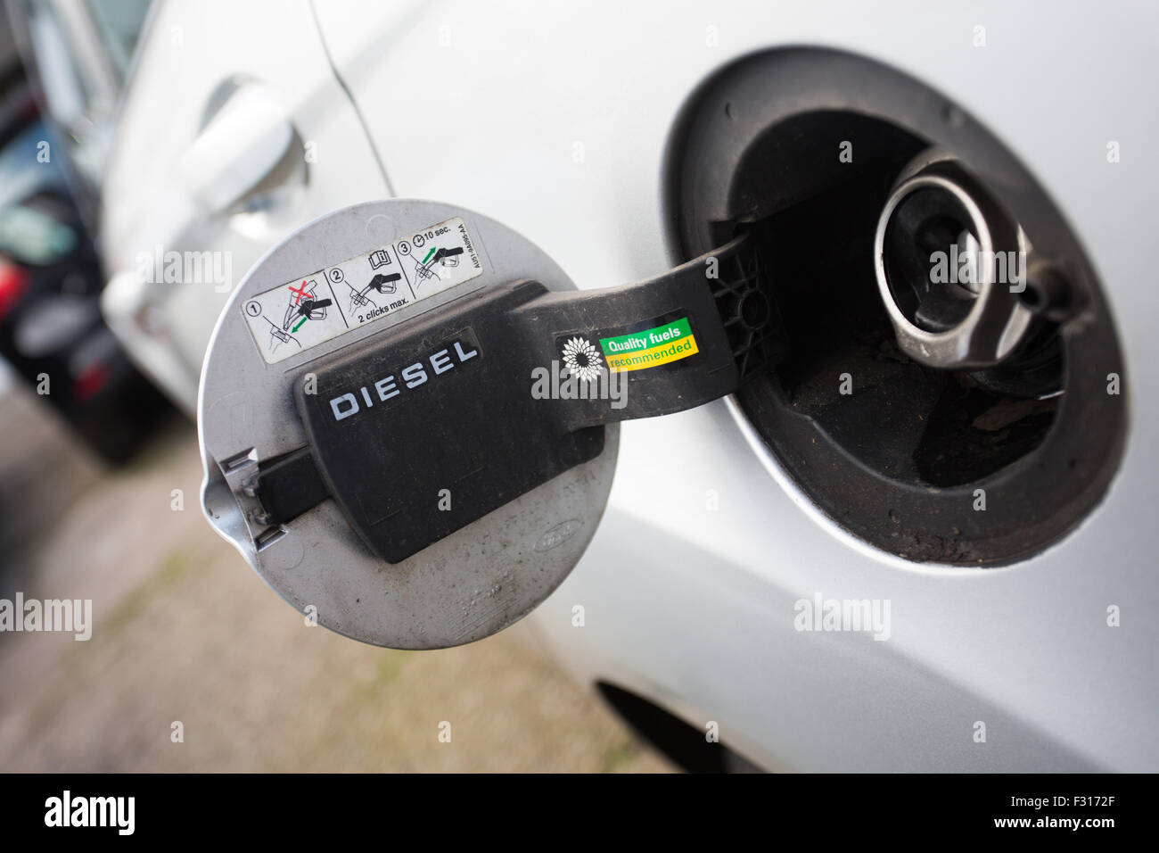 view of diesel fuel tank on car - Stock Image
