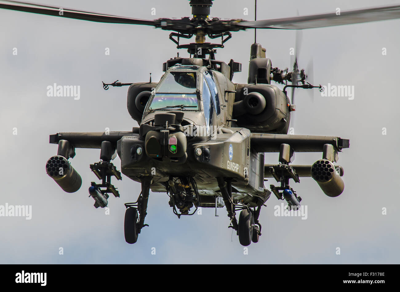 Westland WAH-64 Longbow Apache is a four-blade, twin-turboshaft attack helicopter used by the British Army - Stock Image