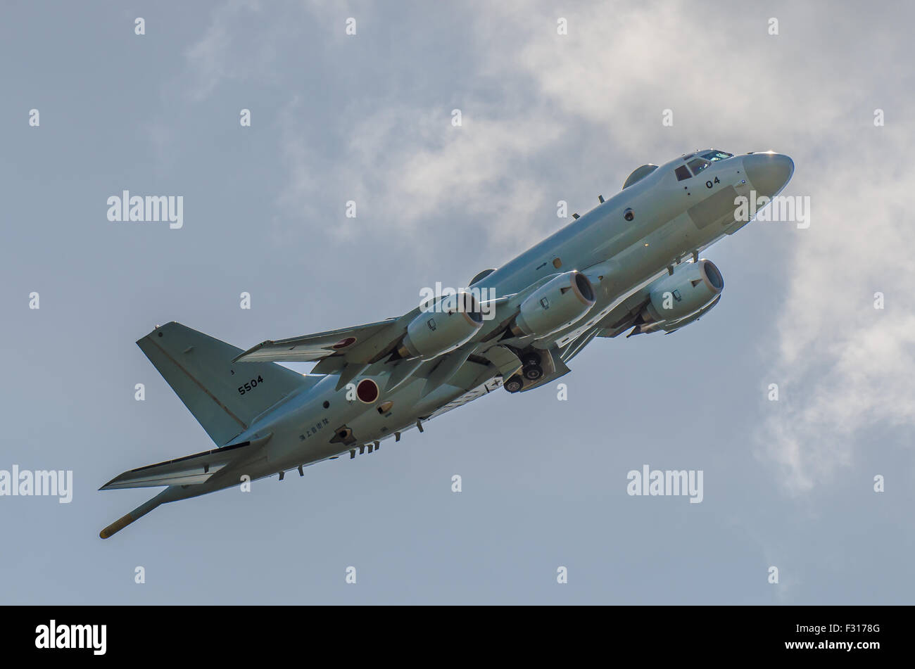 The Kawasaki P-1 is Japanese maritime patrol aircraft in service with the Japan Maritime Self-Defense Force hoping - Stock Image