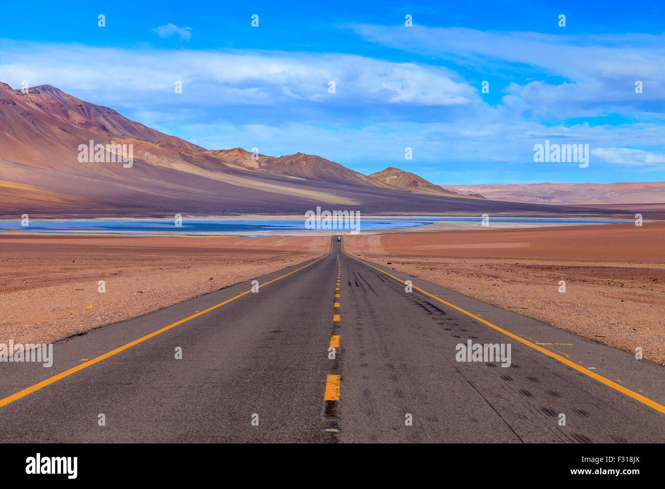 The lonely road that leads to the Salar de tara - Stock Image