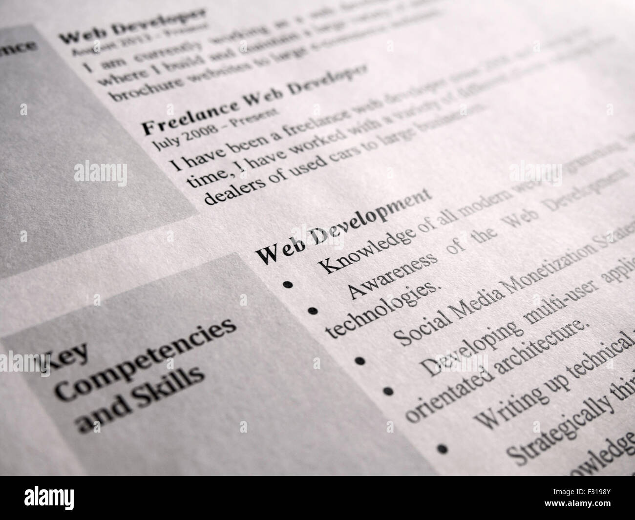 Part of Web Developer Curriculum Vitae Close-Up, Selective focus - Stock Image