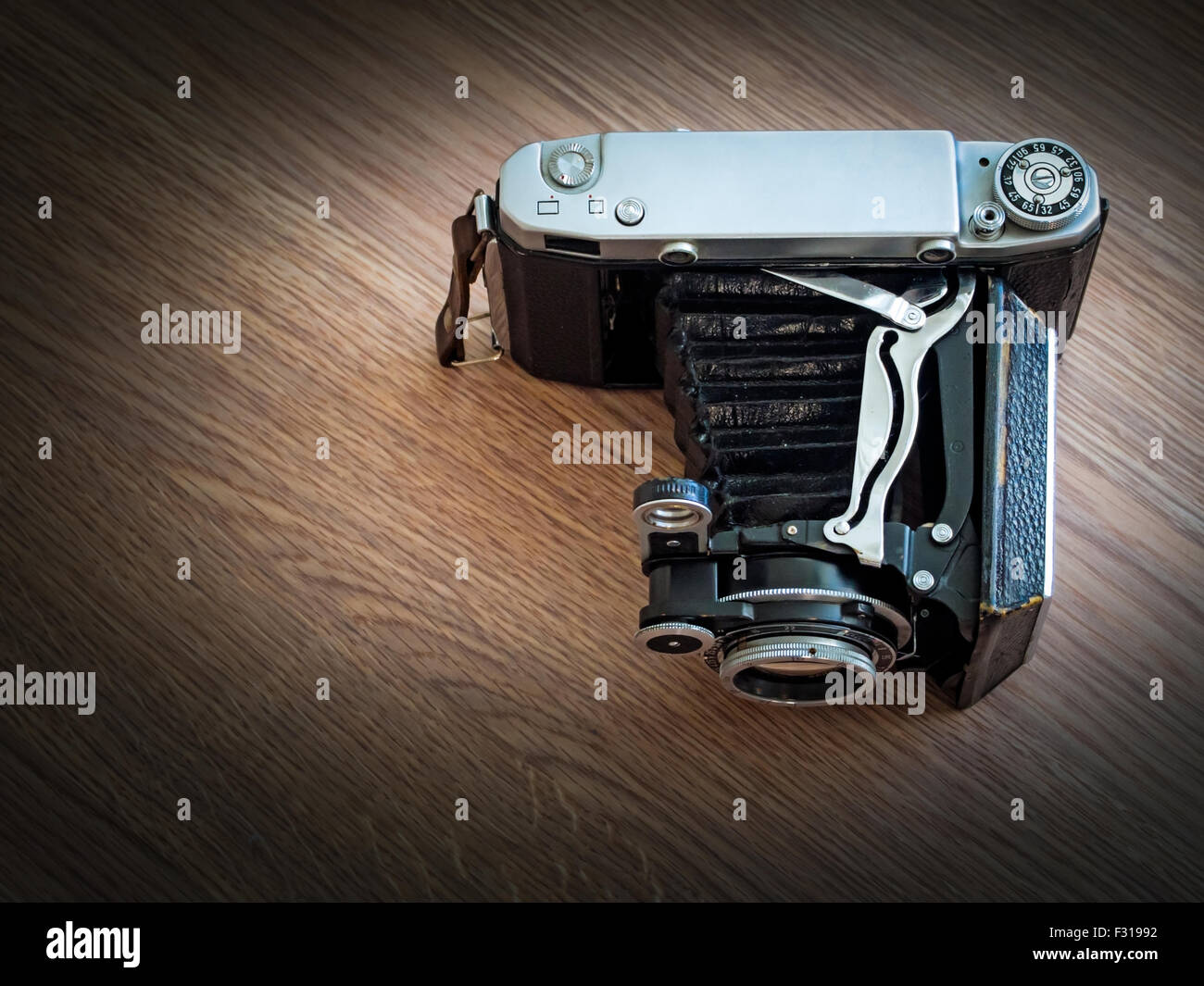 An Old Bellows Medium Format Film Camera View From Above - Stock Image