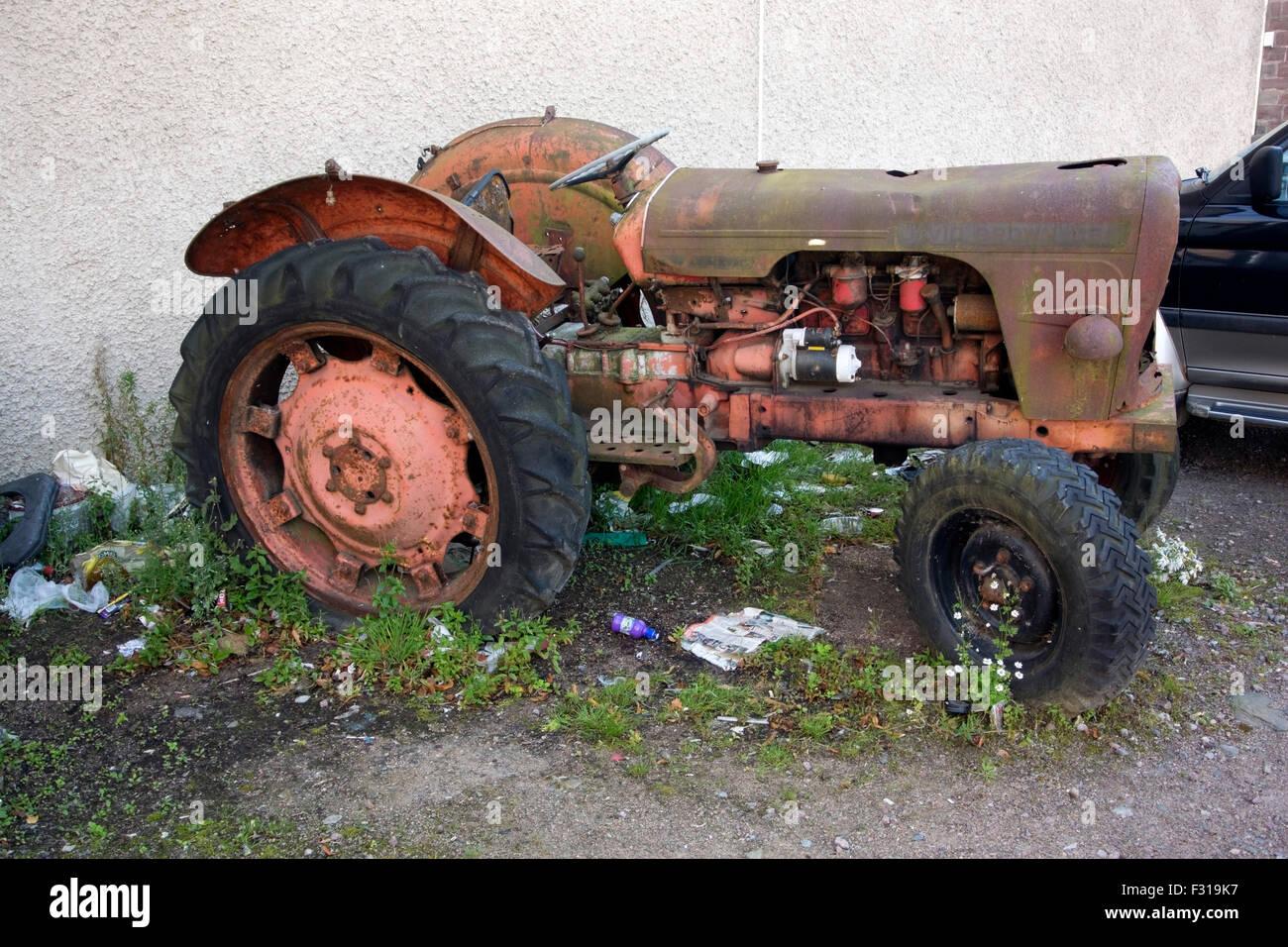 Dilapidated 1960's David Brown 950 Model Tractor Stock Photo