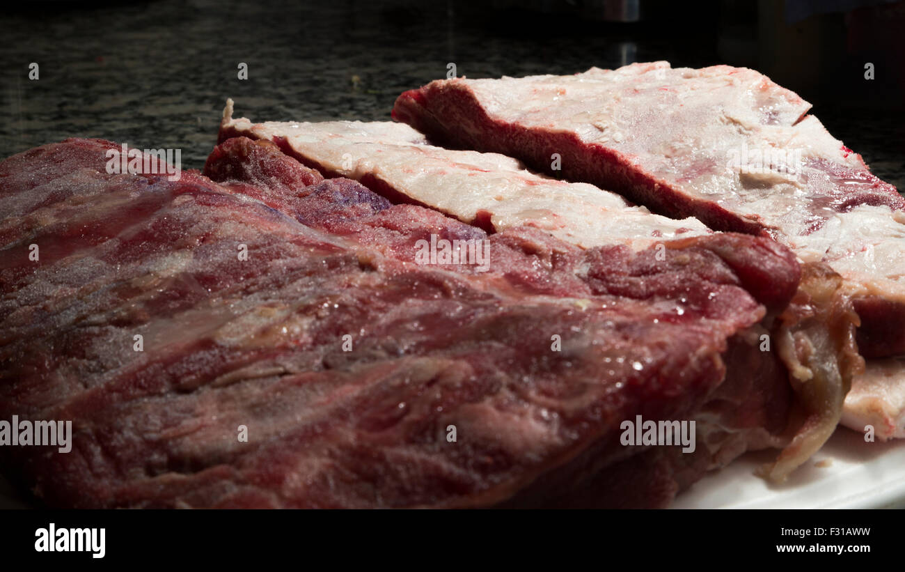 Ribs and beef - Stock Image