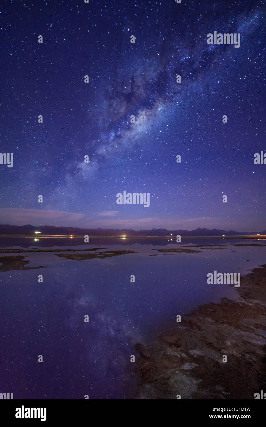 Milky Way reflected over Laguna Tebinquinche - Stock Image