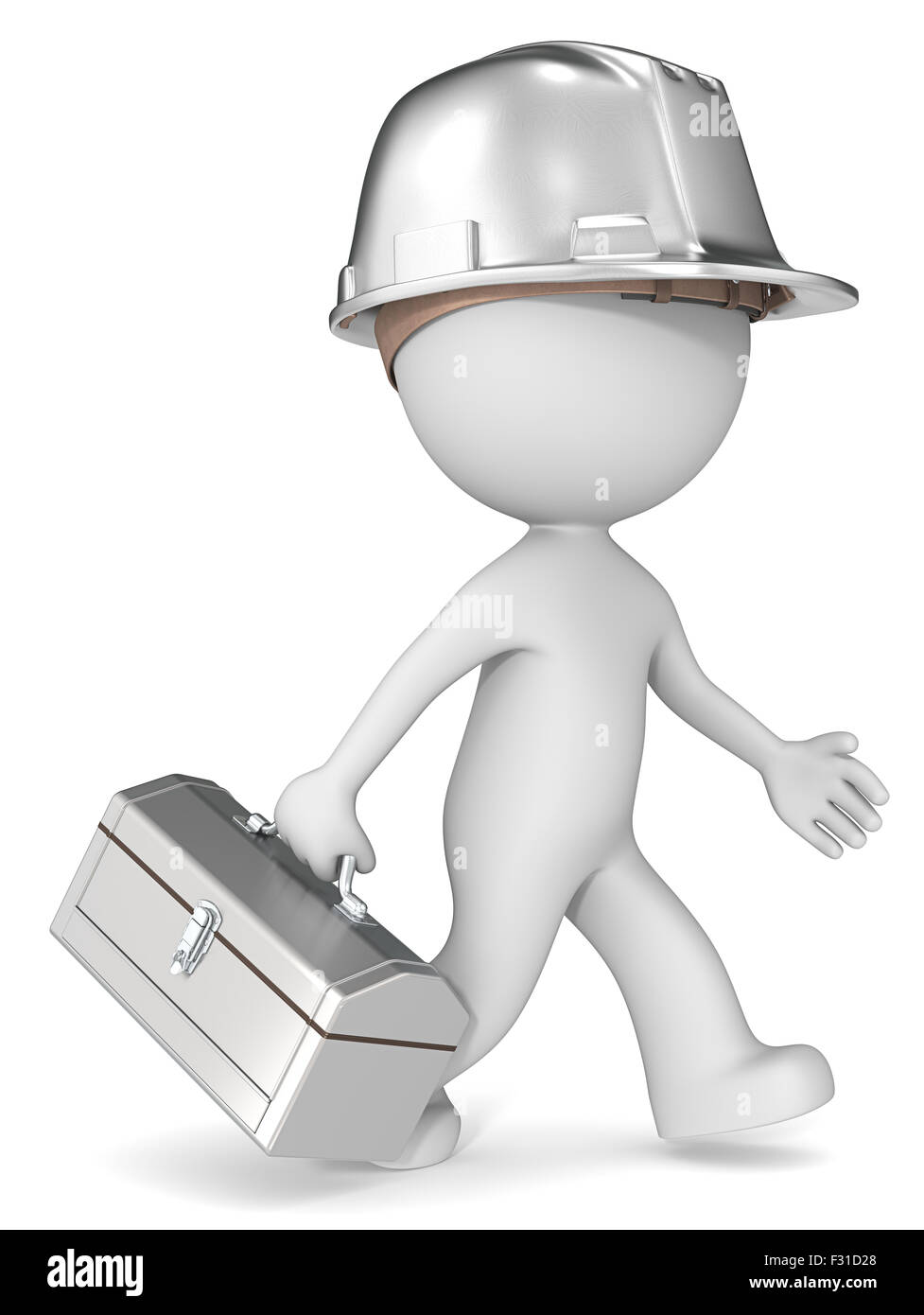 Dude 3D character the builder with steel toolbox and hardhat. Retro Theme. - Stock Image