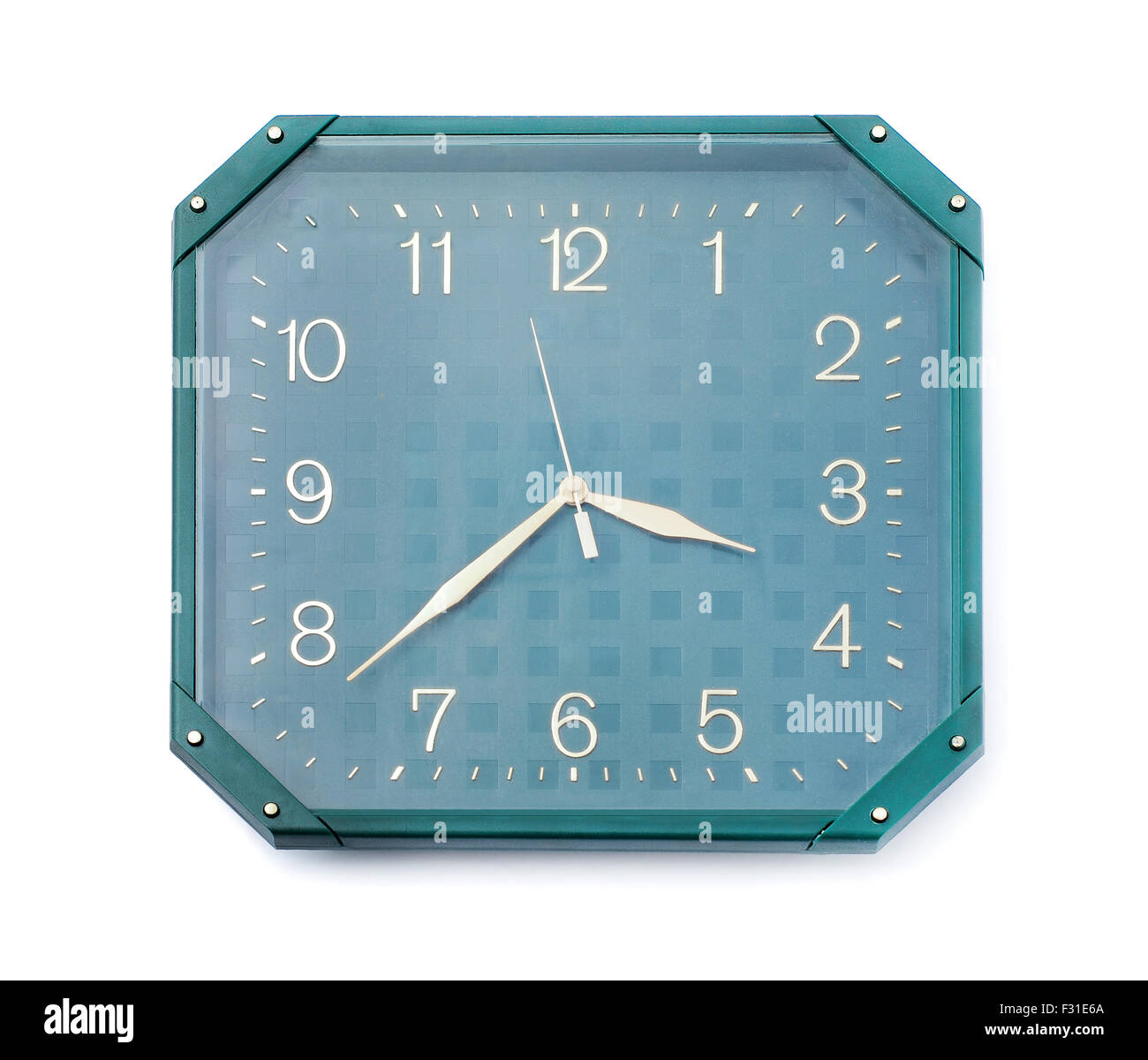 wall clock on white background - Stock Image