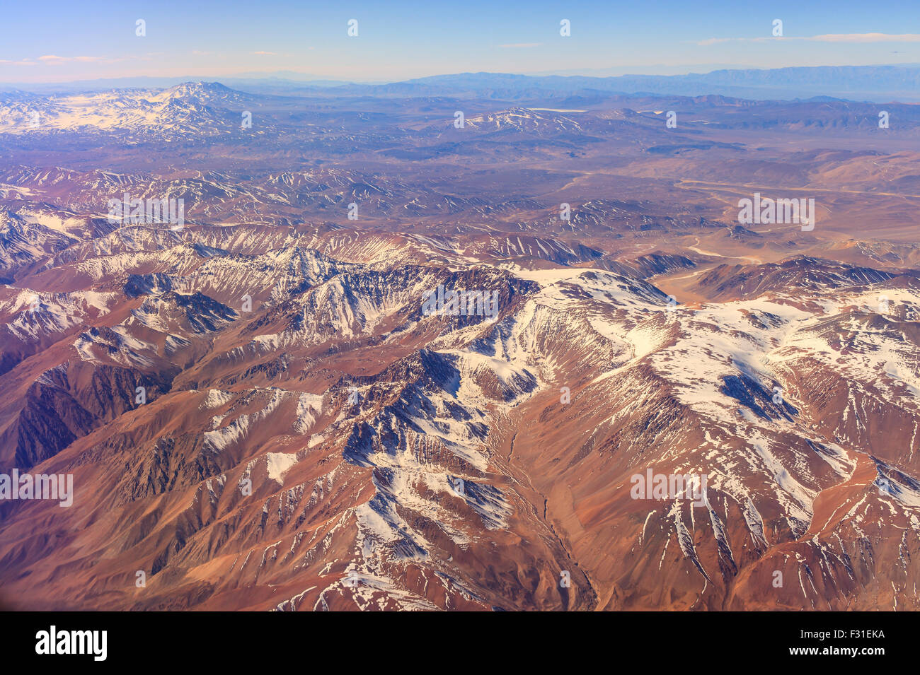 Aerial view of the Andes Mountains - Stock Image