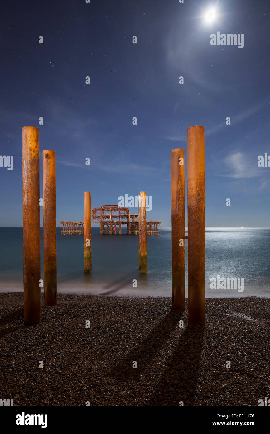 Lunar eclipse night 28th September 2015 at West Pier in Brighton, UK. - Stock Image