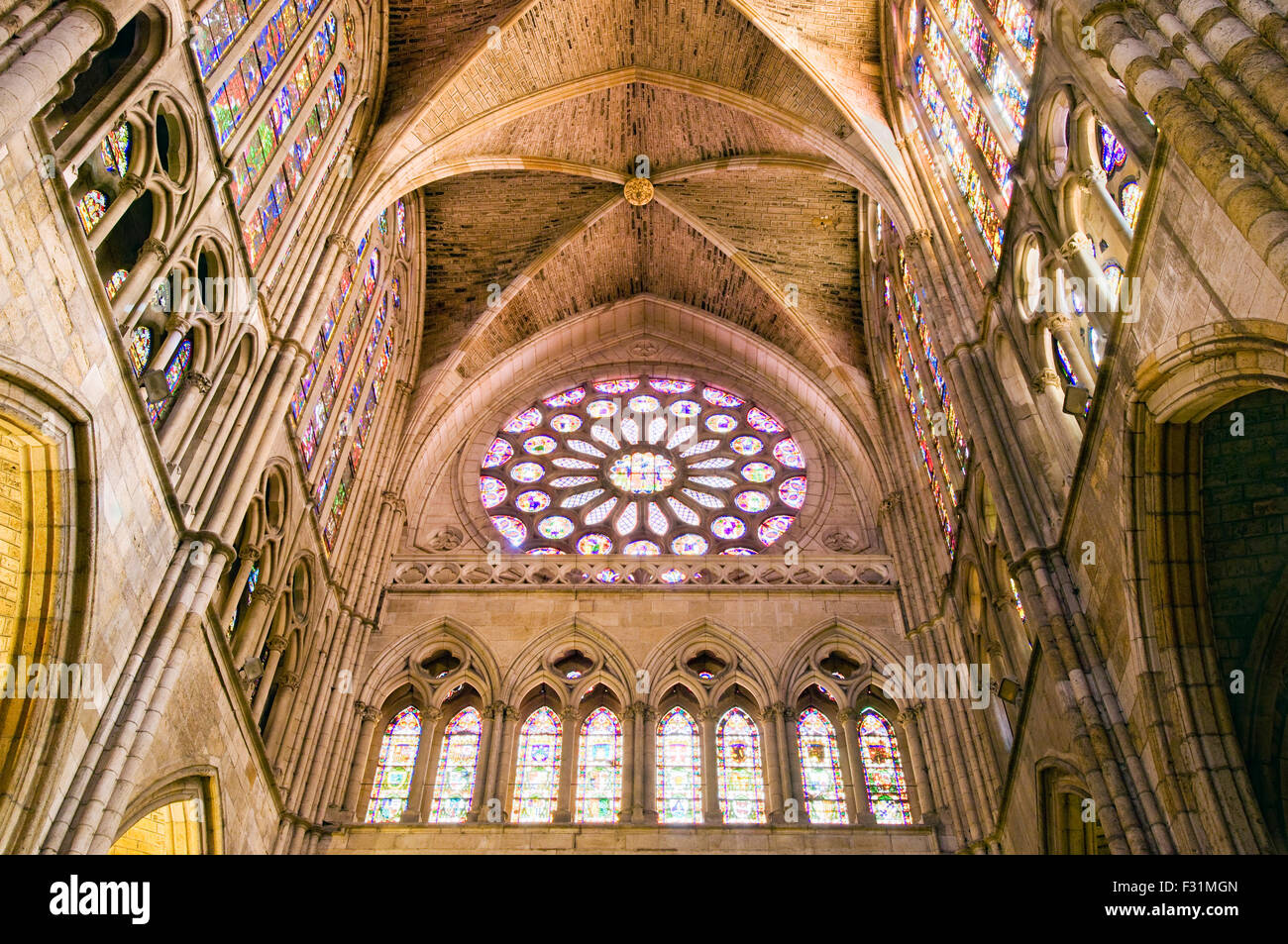 The Famous Interior And Stained Glass Windows Of Leon Cathedral In Spain