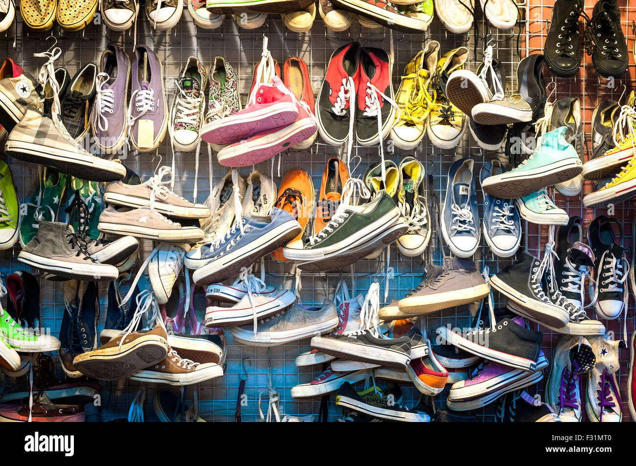 Second-hand trainers at Chatuchak Market, Bangkok - Stock Image