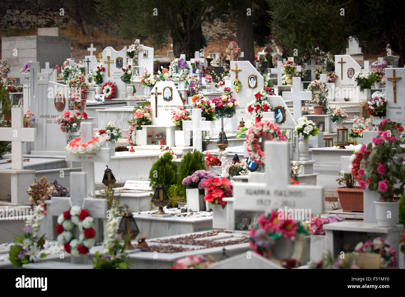 Saint Panteleimon cemetery in Mytilini, Lesbos, Greece. - Stock Image