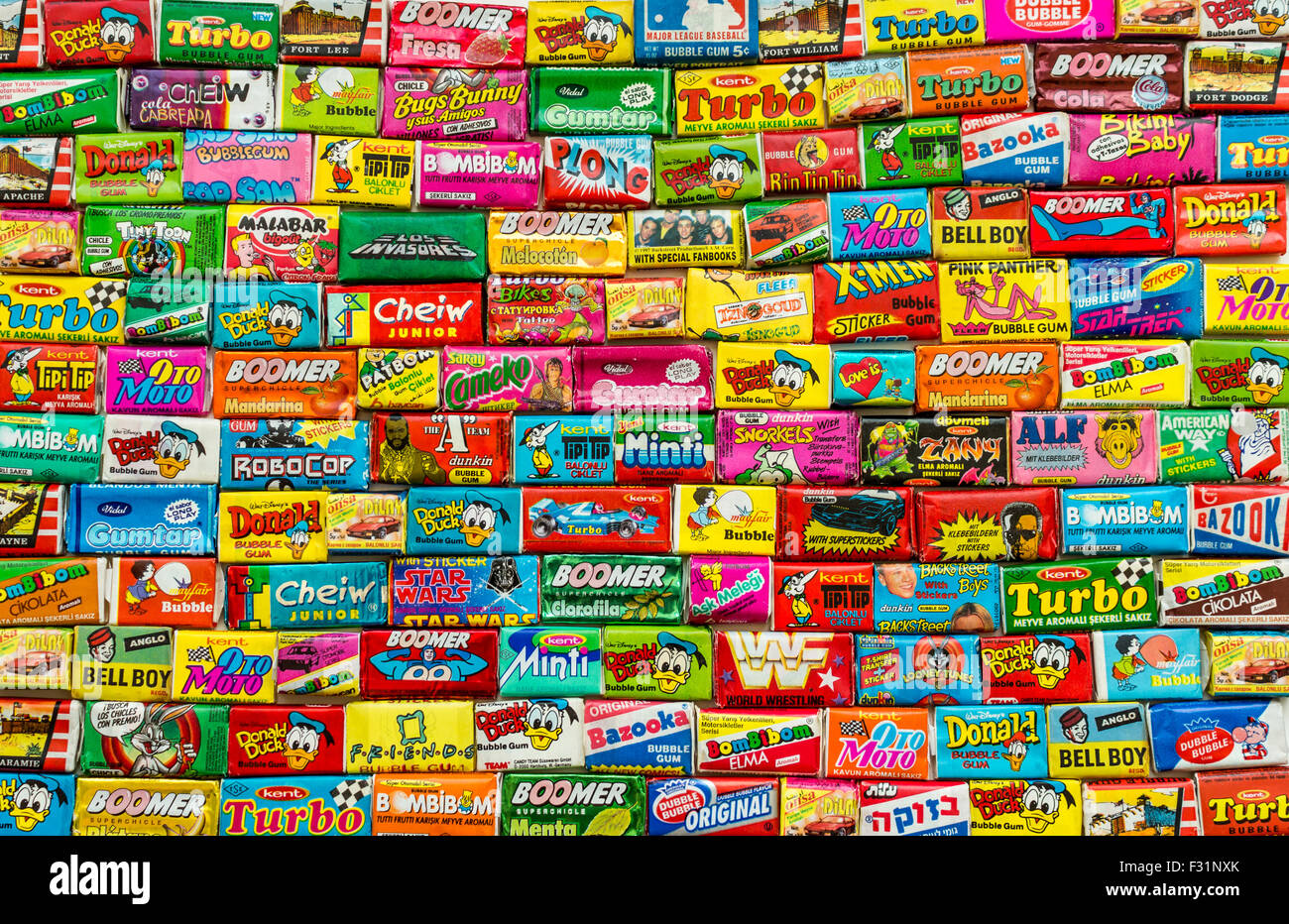 Many various colorful chewing or bubble gum including Turbo, BomBibom, Donald Duck, Dunkin, Robocop, X-Men, Minti - Stock Image