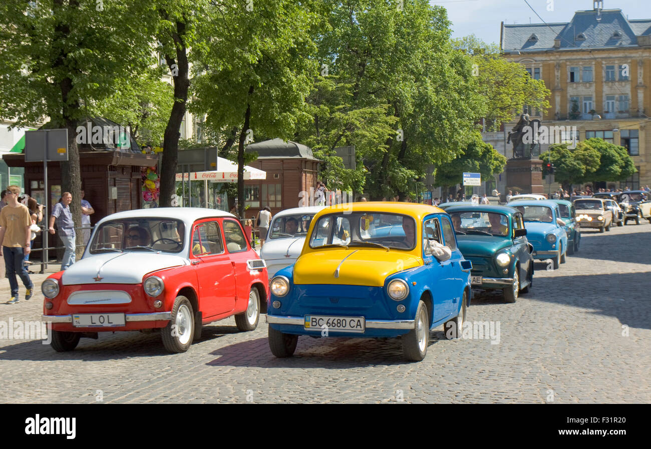 LVOV, UKRAINE - MAY 11: Russian-Ukrainian old retro cars of 1960-ies