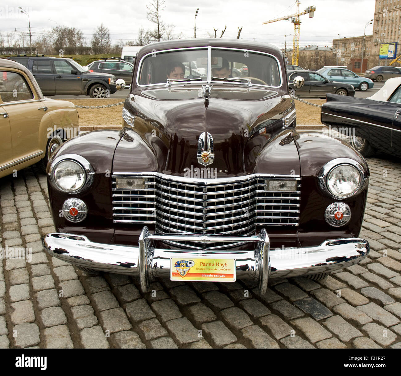 MOSCOW – APRIL 21: retro car Cadillac on rally of clical cars on