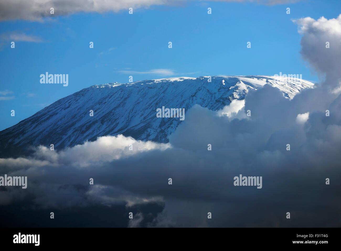 Kibo summit or Uhuru Peak of Mount Kilimanjaro, iced over, Amboseli, Kenya - Stock Image