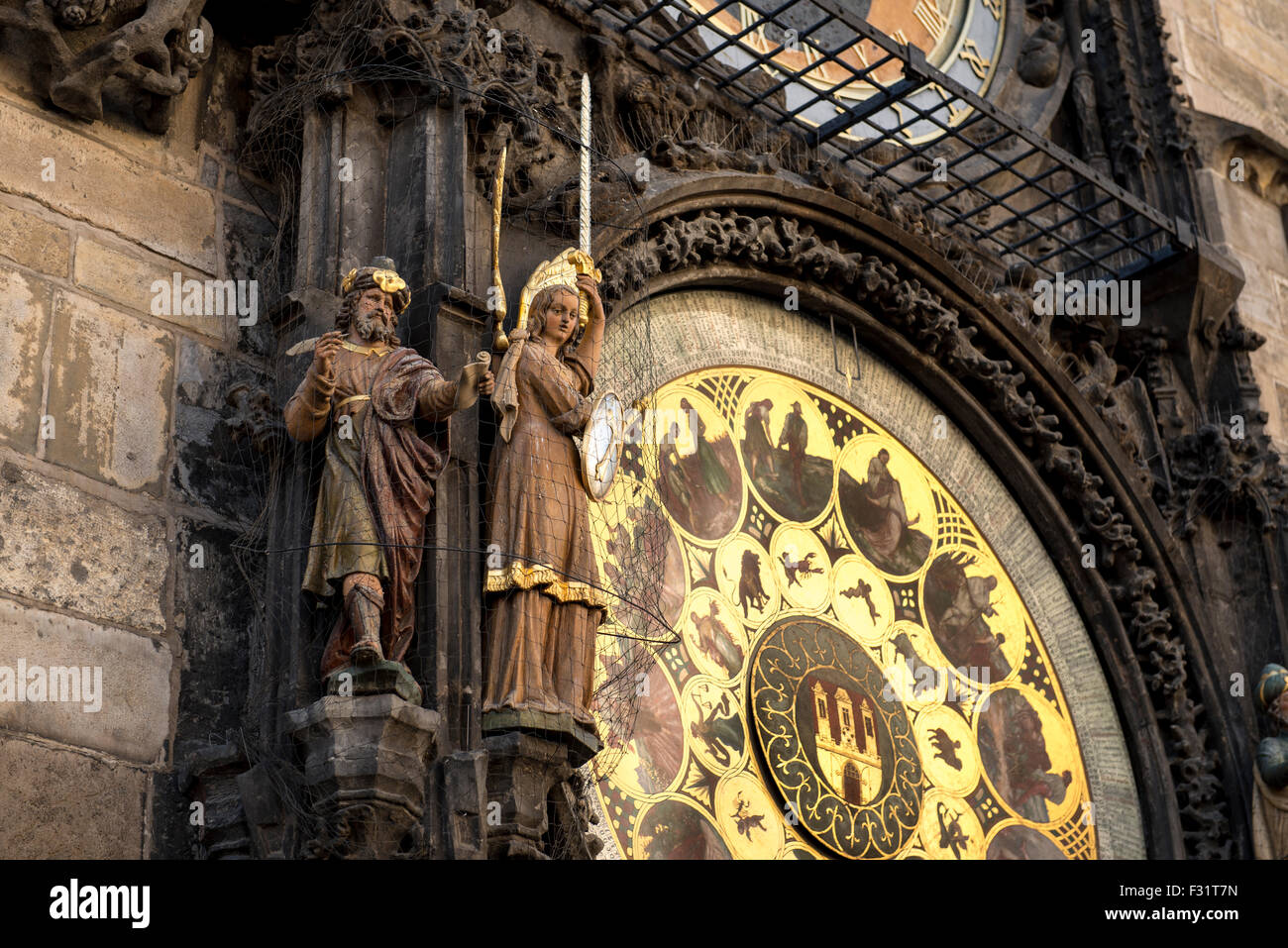 Prague Astronomical Clock (Prague Orloj) - on wall of Old Town City Hall  in Old Town Square in Prague, Czech Republic - Stock Image