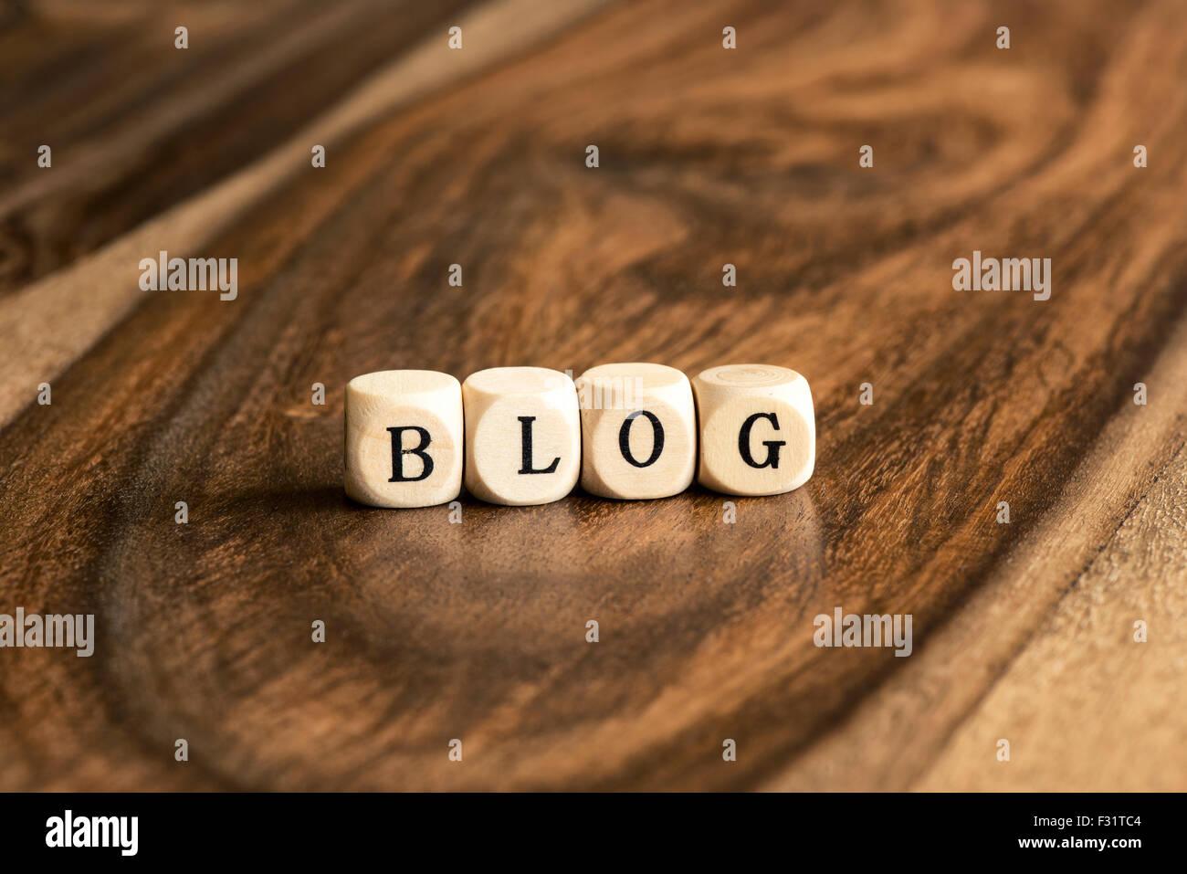 BLOG word background on wood blocks - Stock Image