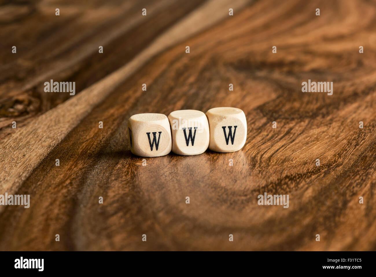 WWW word background on wood blocks - Stock Image