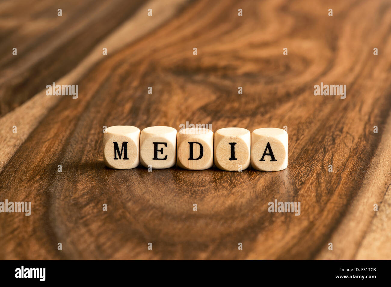 MEDIA word background on wood blocks - Stock Image