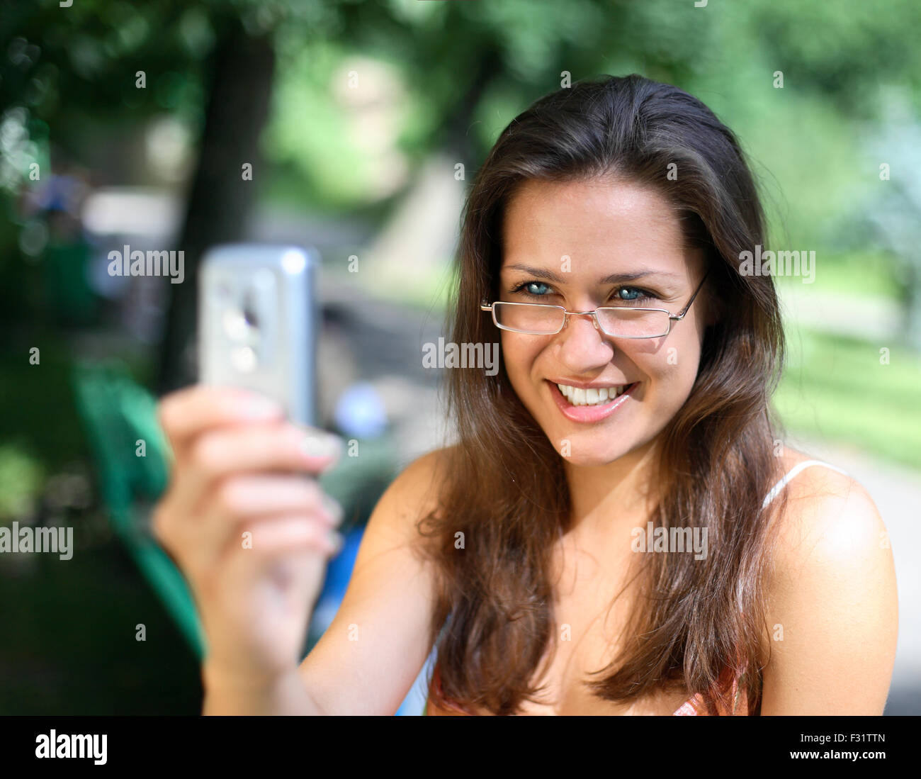 Girl doing a selfy. - Stock Image