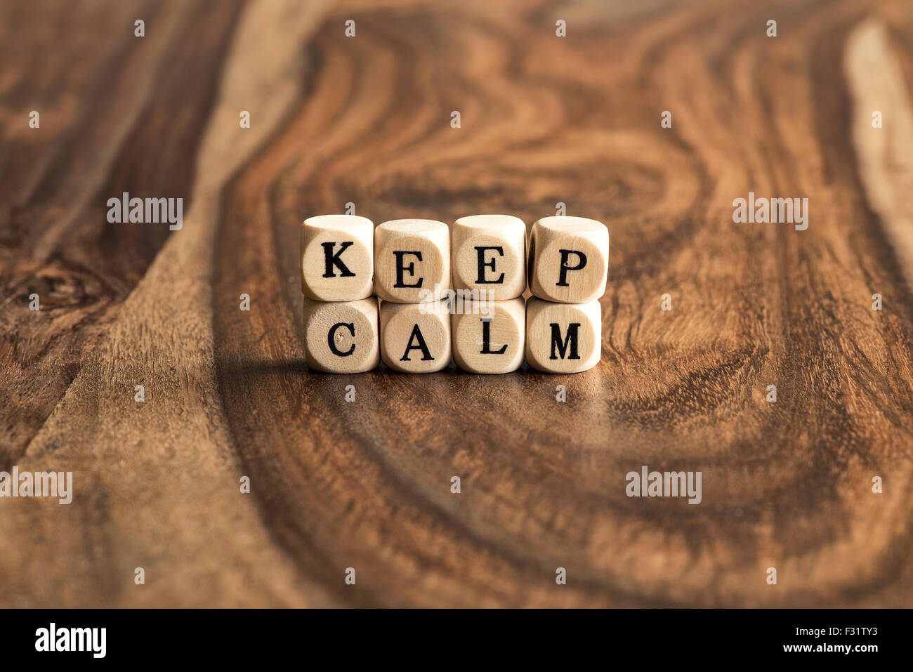 KEEP CALM word background on wood blocks - Stock Image