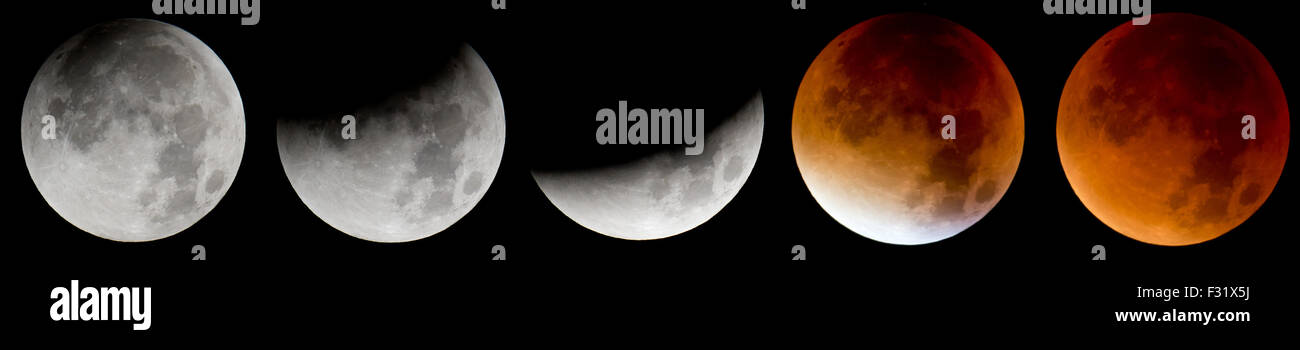 Munich, Germany. 28th Sep, 2015. COMBO - A combo picture shows the different stages of the lunar eclipse (L - R) - Stock Image