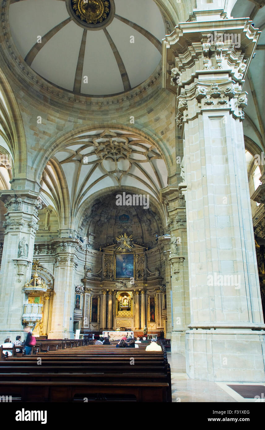 The interior of the San Sebastian Cathedral, The Cathedral of the Good Shepherd - Stock Image